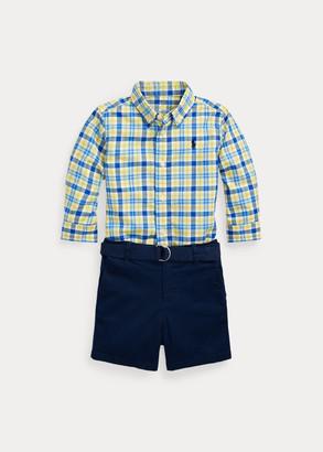 Ralph Lauren Plaid Shirt, Belt & Short Set