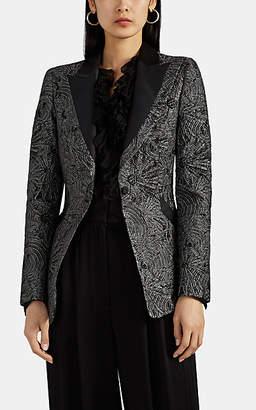 Alberta Ferretti Women's Metallic Jacquard Blazer - Black Pat.