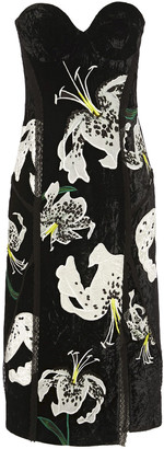 Erdem Rebecca Strapless Embroidered Crushed-velvet Dress
