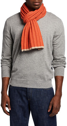 Brunello Cucinelli Men's Tipped Rib-Knit Cashmere Scarf