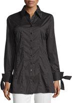 Neiman Marcus Tie-Sleeve Button-Down Blouse, Black
