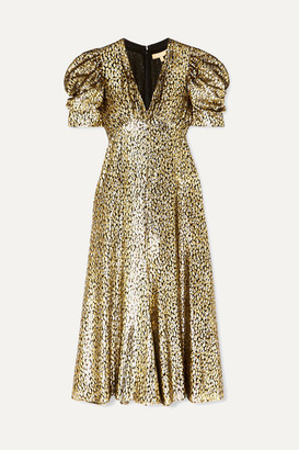 Michael Kors Metallic Fil Coupe Leopard-jacquard Midi Dress - Gold