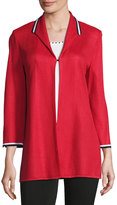 Ming Wang Stretch Textured Long Jacket, Red