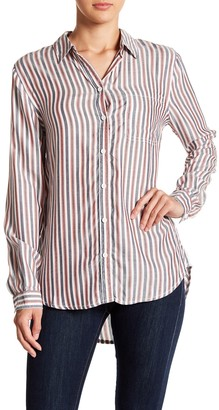 BeachLunchLounge Striped Long Sleeve Button Front Blouse