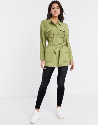 Topshop utility shacket in khaki