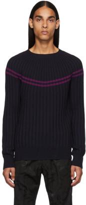 Dries Van Noten Navy Ribbed Merino Sweater