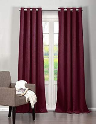 BA&SH Lala + Bash Quincy Faux Silk Blackout Room Darkening Curtain with Set of 2 Panels, Polyester, Burgundy Red, 84 x 40 x 84 cm