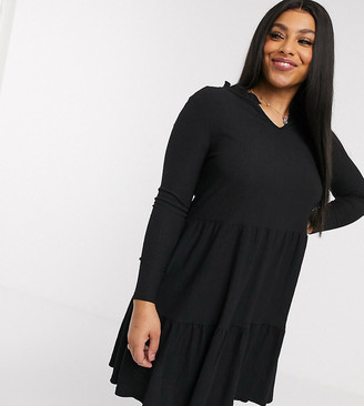 New Look Plus New Look Curve frill neck smock dress in black