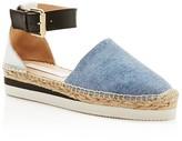 See by Chloe Glyn Denim Platform Ankle Strap Espadrilles