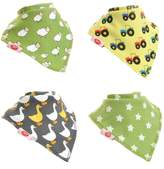 Zippy Fun Baby and Toddler Bandana Bib - Absorbent 100% Cotton Front Drool Bibs with Adjustable Snaps (4 Pack Gift Set) Unisex Farm