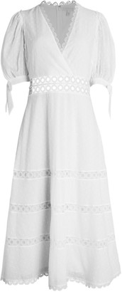ML Monique Lhuillier Swiss Dot Lace Trim Midi Dress