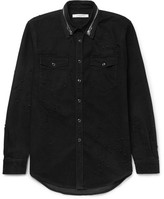 Givenchy Zip-Detailed Distressed Denim Shirt