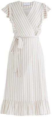 Paisie Brighton Striped Wrap Dress In Beige & White