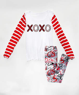 Beary Basics Girls' Leggings WHITE/ - Red & White Stripe 'XOXO' Crewneck Top & Leggings - Toddler & Girls