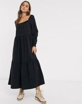 Asos Design DESIGN denim prairie midi smock dress in black