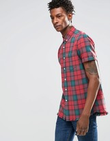 Asos Check Shirt With Acid Wash In Short Sleeve In Regular Fit