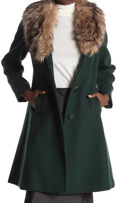 Kate Spade Faux Fur Trimmed Wool Blend Coat