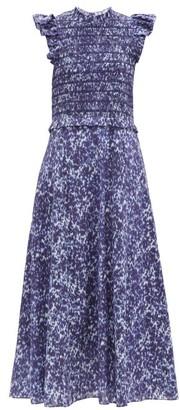 Sea Celine Mottled-print Cotton-gauze Midi Dress - Indigo