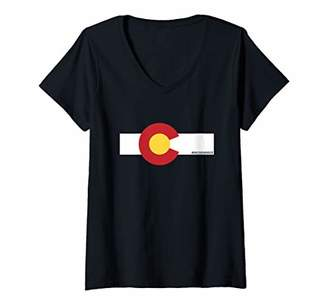 Womens Breckenridge Colorado x CO Flag V-Neck T-Shirt