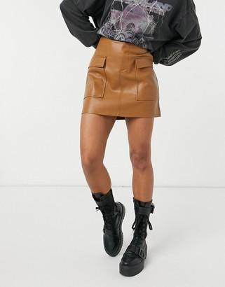 BB Dakota vegan leather mini skirt in tan
