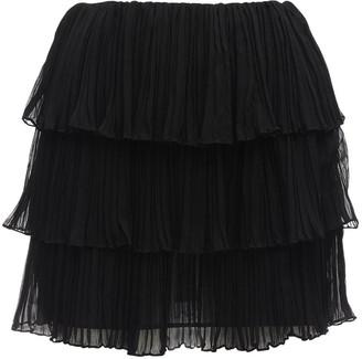 Saint Laurent Pleated Georgette Crepe Mini Skirt