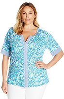 Caribbean Joe Women's Plus Size Medallion Multi Color Printed Cotton Rayon Elbow Sleeve Scoop Neck Tee Top