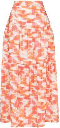 Three Graces Francesca ikat-print midi skirt