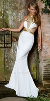 Nika Radiant Halter Column Mystery Evening Dress