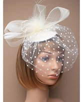 Inca Cream Fascinator on Headband/ Clip-in for Weddings, Races and Occasions-4615