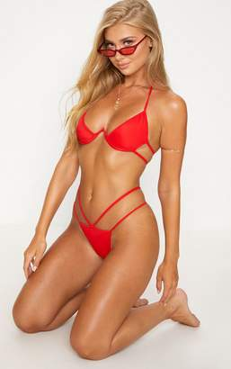 PrettyLittleThing Red Cleavage Wire Bikini Top