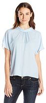 Vince Camuto Women's Short Sleeve Mock Neck Blouse