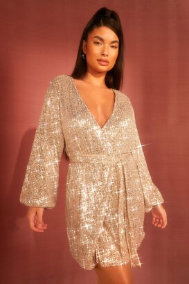 boohoo Petite Belted Balloon Sleeve Sequin Dress
