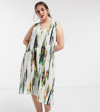 Native Youth plus midi slip dress with full skirt in abstract print satin
