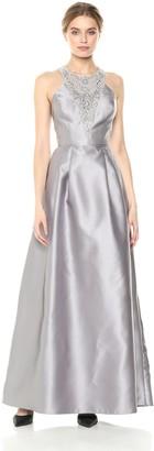 Adrianna Papell Women's Beaded Halter Bodice Long Mikado Sleeveless Ballgown