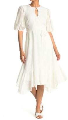 Gabby Skye Elbow Length Sleeve Linear Jacquard Ruffle Hem Dress