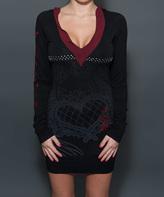 Rebel Spirit Black & Red Embellished Hooded Dress - Women