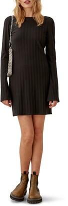 Reformation Cait Open Back Long Sleeve Minidress