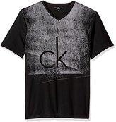 Calvin Klein Jeans Men's Short Sleeve Fog Knockout Logo V-Neck T-Shirt