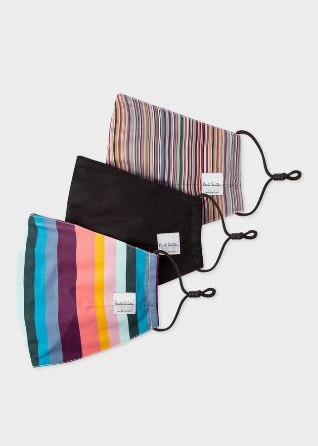 Paul Smith 'Artist Stripe' And 'Signature Stripe' Print Face Coverings Three Pack