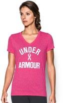 Under Armour Women's Power in Pink Wordmark Tech V-Twist Tee