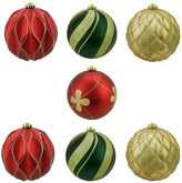 Asstd National Brand 7 Ct 6 Matte And Glitter Red Gold And Green Earthy Shatterproof Ball Ornaments