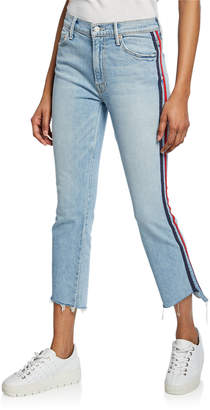 Mother The Inside Crop Step Fray with Racer Stripes