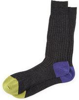 Pantherella Stratford Contrast Heel/Toe Ribbed Dress Socks