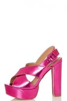 Quiz Pink Metallic High Heel Sandals