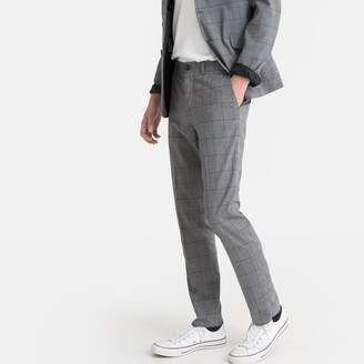"""La Redoute Collections Slim Fit Checked Trousers in a Short Cut, Length 30"""""""
