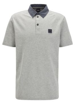 HUGO BOSS Honeycomb Structure Cotton Polo Shirt With Denim Look Detailing - Grey