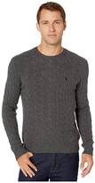 Polo Ralph Lauren Wool Cashmere Long Sleeve Cable Knit Sweater (Dark Charcoal Heather) Men's Clothing