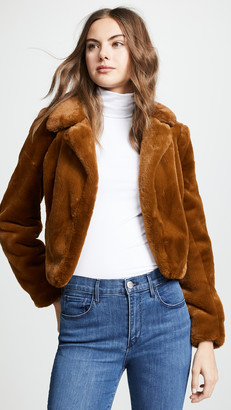 Blank Cropped Faux Fur Jacket