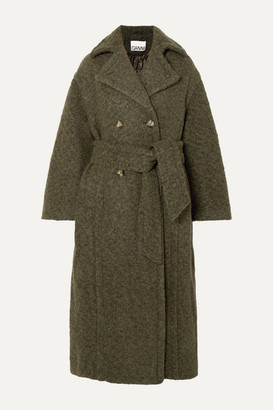 Ganni Oversized Double-breasted Wool-blend Boucle Coat - Army green