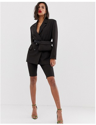 Asos DESIGN dad suit blazer in chocolate brown with fanny pack
